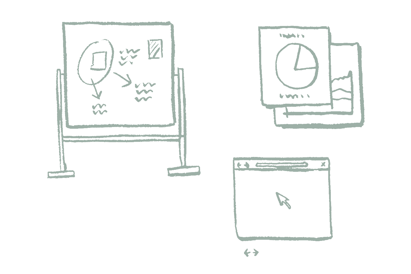 Drawing of whiteboard, web browser, and app windows